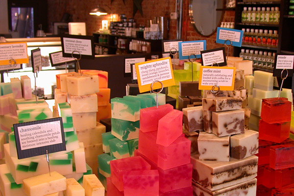 Colorful, handmade soaps at Duross & Langel